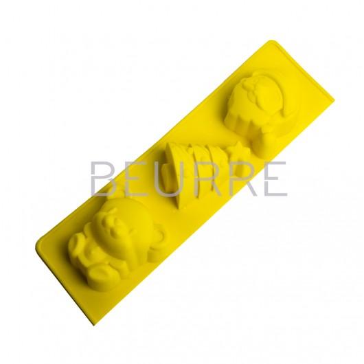 Форма для мыла Новогодне ассорти (3 ячейки, силиконовая)