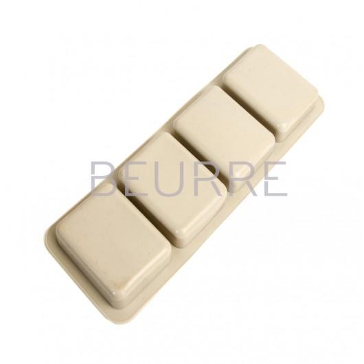 Форма для мыла Прямоугольники серые серые (4 ячейки, силиконовая)