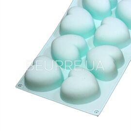 Форма для мыла 3D Сердца (8 ячеек, силиконовая)