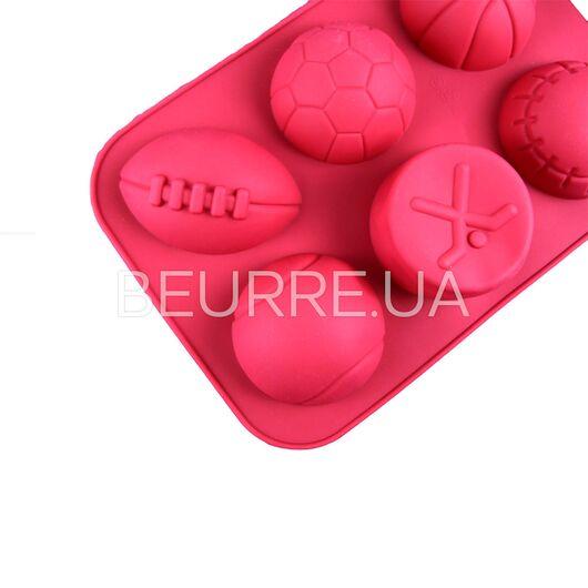 Форма для мыла Спортивные мячи (6 ячеек)