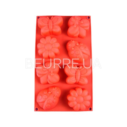 Форма для мыла Насекомые (4 ячейки, силиконовая)