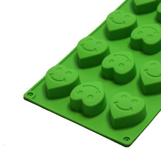 Форма для мыла Сердечки-смайлики (6 ячеек, силиконовая)