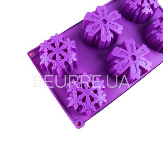 Форма для мыла Снежинки большие (3 ячейки, силиконовая)