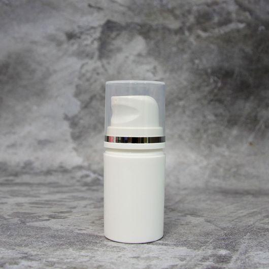 Вакуумный флакон белый/прозрачная крышка 15 мл