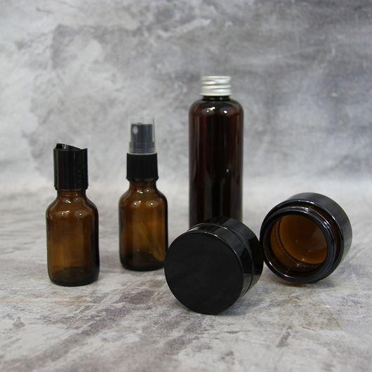 Флакон с диск-топом 25 мл (коричневый, стекло)