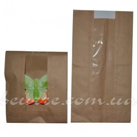 Крафт-пакет с окошком коричневый 140х50х240 мм (5 шт.)